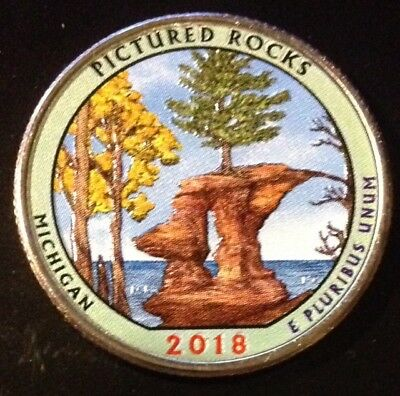 2018 D Colorized Pictured Rocks (Michigan) America The Beautiful Quarter