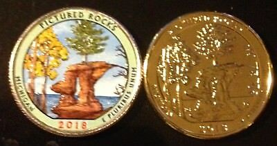 2018 D Colorized & 24K Gold Layered Pictured Rocks (Michigan) Quarter Set