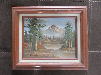 Framed Vintage Oil on Board Landscape Painting Signed by Antonio