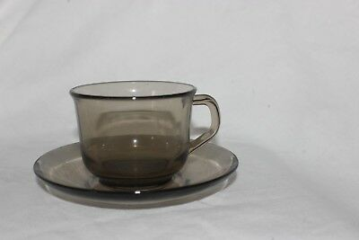 ARCOROC France Glass  Cup and Saucer .Tasses & Soucoupes.