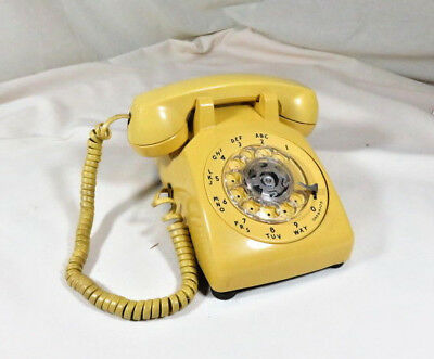 Vintage YELLOW Western Electric Rotary Desk Phone 1958 Working Bell System HTF