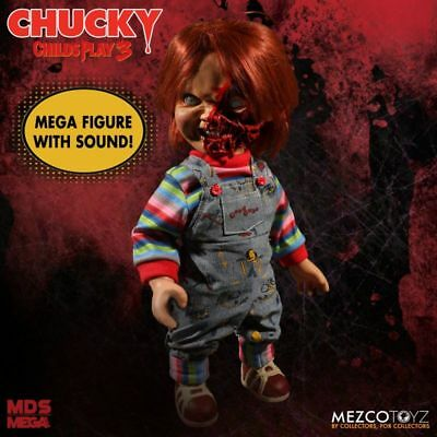 "Child's Play 3 Chucky Pizza Face Talking Mega Scale Doll Sound 15"" Mezco Toyz"