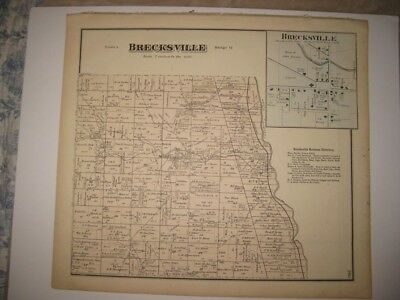 Antique 1874 Brecksville Broadview Heights Cuyahoga County Ohio Handcolored Map