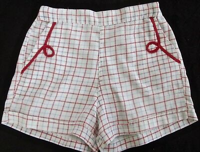 vintage 50s girls cotton twill plaid shorts w red braid western trim, larger sz