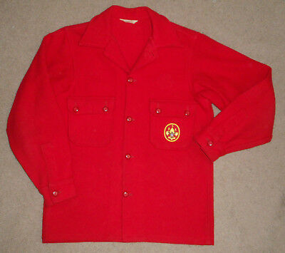 Vtg BOY SCOUTS Of America WOOL Jacket RED Official Jac Shirt BSA Adult Men Sz 40
