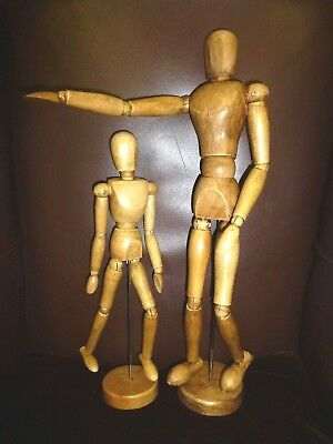 """Vintage hand waxed Traditional Wooden Large Artist Mannequin model pose-able 16"""""""