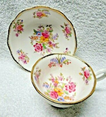 Royal Albert  Floral Flowers Interior Cup Gold-Colored Edge Cup and Saucer
