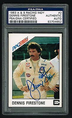 Dennis Firestone 1983 A&S Racing PPG Indy signed autograph Card PSA Slabbed
