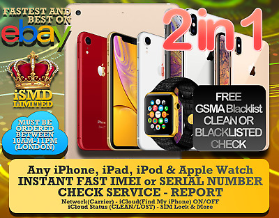 INSTANT FAST iPhone iPad APPLE WATCH IMEI NETWORK CARRIER ICLOUD CHECKER