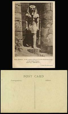 Egypt Old Postcard Luxor Temple Colossus of Rameses II North East Portico Louxor