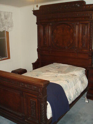 c1880's Burled Walnut OURSTANDING Carved Bed Full to Queen Size