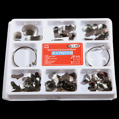 100Pcs Dental Sectional Contoured Metal Matrices 35 μm hard with 2 Rings C6