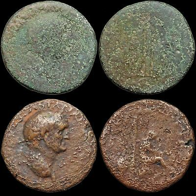 Vespasian. Lot Of 2 Judaea Capta Monete, Sestertius e As