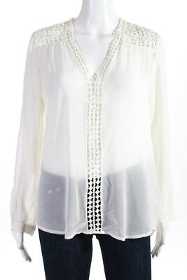 Joie Womens Silk Crochet Knit V Neck Long Sleeve Blouse Creme Size Small