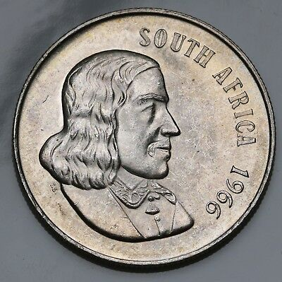 1966 South Africa Rand KM# 71.1 Silver Coin English Legend