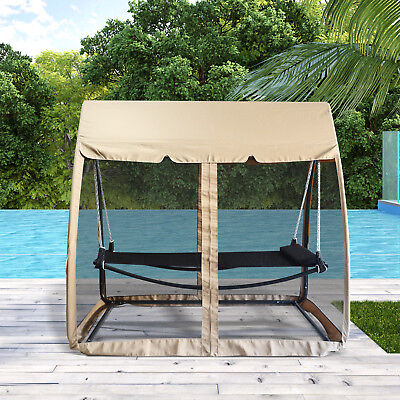 Outsunny Hammock Bed Swing Chair Garden Lounger Outdoor Gazebo w/ Mesh
