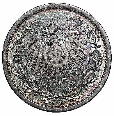 1906-A Germany Silver 1/2 Mark German Empire Coin KM#17
