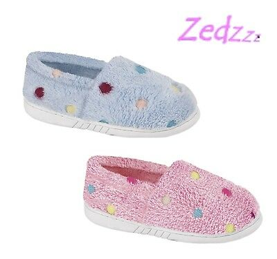 GIRLS SPOTTY Slippers - Pink Blue Soft Towelling Hard Sole  Size 10 11 12 13 1 2