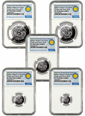 2018 Smithsonian Barber's Dragon 5-Coin Silver Proof Medal Set NGC PF70 SKU55591