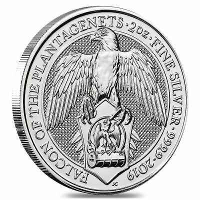 Great Britain 2019 Silver 2 Oz. Queen's Beasts Falcon Coin Unc
