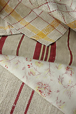 Antique Vintage French fabric Coordinating pieces ~ lovely ticking + grain sack