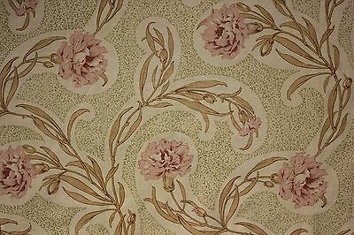 Curtain Antique French printed fabric Arts and Crafts c 1900 drape upholstery