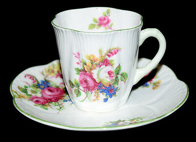 Shelley 13240  Hulmes Rose Dainty Demitasse Cup and Saucer