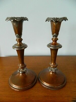 Victorian Antique Arts & Crafts Silver Plated  Pair Candlesticks On Copper