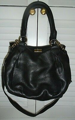 J. CREW~BROMPTON: Black Pebbled Leather X-Body-Satchel Zip+Turn Lock Bag/Superb