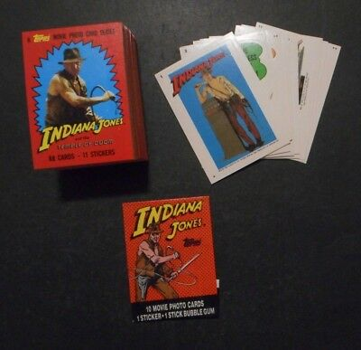 1984 Indiana Jones Complete Card & Sticker Set (88/11) & Wrapper *mint* Topps