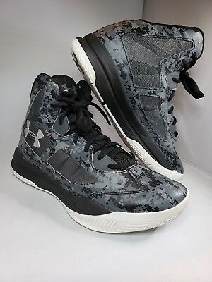 49ae1603499 Under Armour 7Y Youth Lightning Basketball Shoes Black Gray Camo 1276281-003