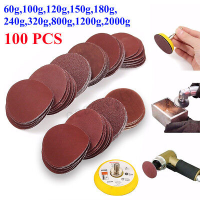 100PCS 2'' Sanding Disc Paper Hook Loop Sander + Backer Pad +M6 Drill Adapter !