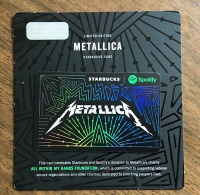 "Starbucks Gift Card 2017 RARE Spotify Limited Edition ""Metallica"" No $ Value"