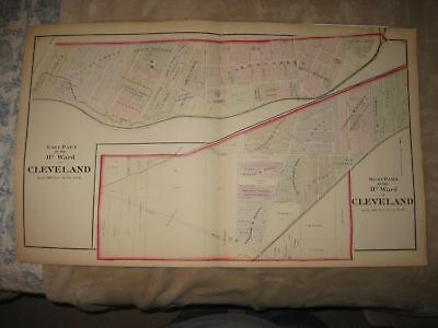 ANTIQUE 1874 CLEVELAND 11th WARD CUYAHOGA COUNTY OHIO HANDCOLORED MAP RARE FINE
