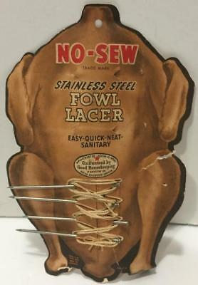 Vintage Heuck Fowl Lacer Stainless Steel 4 Nails String Original Card/1930s