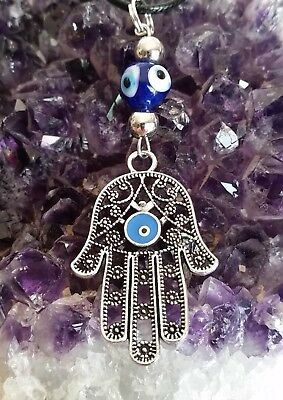 WOW -  NEW PROTECTIVE DOUBLE HAMSA HAND PENDANT WITH EVIL EYE - on 44cm cord