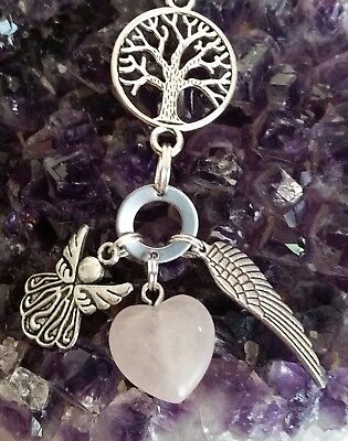 Wow - New Style Tree  Of Life & Rose Quartz Gemstone Pendant With Silver Charms