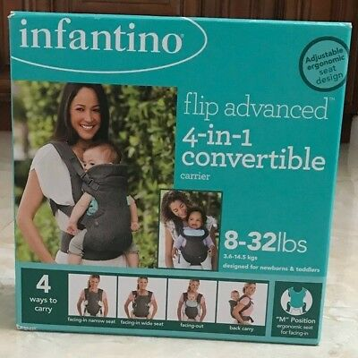 Infantino Flip 4-in-1 Convertible Baby Carrier - Gray (200-183) brand new