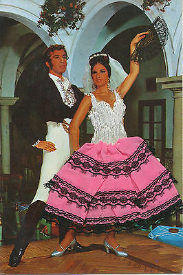 GLAMOUR SPAIN 1985 superb TEXTILE postcard (Clothes of the woman)