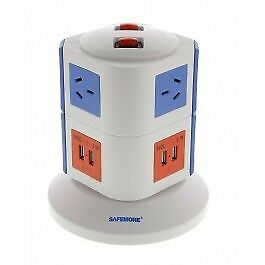 Safemore 2 Level VPS Original Power Stackr 6 Outlets with 4 USB Charging -