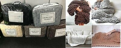 Chunky Knitted Warm Soft Thick Blankets Yarn Wool Bulky Sofa Throws Small- Large