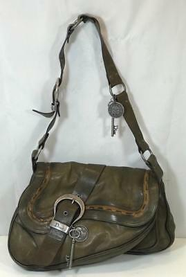 d20834aa8a34 Authentic CHRISTIAN DIOR Leather Gaucho Saddle Bag In Olive