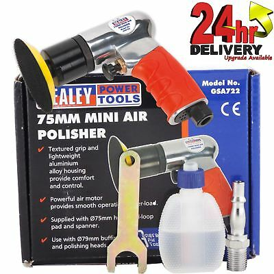 Sealey Mini Air Polisher 75mm Provided With 75mm Hook & Loop Pad/Spanner/Oil
