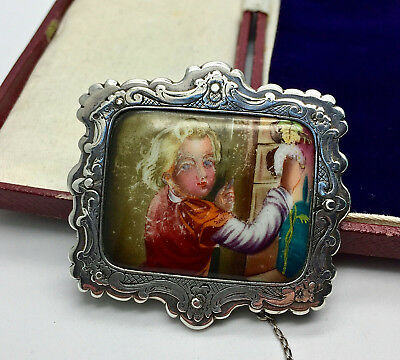 Antique Sterling Silver Ornate Hand Painted Girl Cleaning Brooch/pin