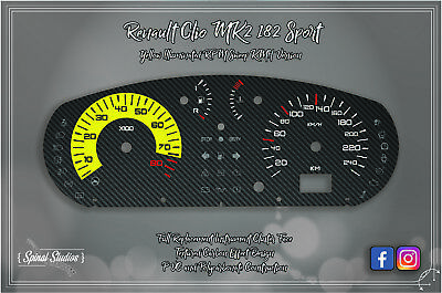 Renault Clio MK2 Sport 182 Carbon Effect Gauges- RPM Sweep KMH Version