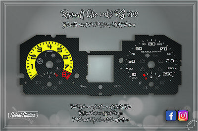 Renault Clio MK3 RS 200 Carbon Effect Gauges KMH Version