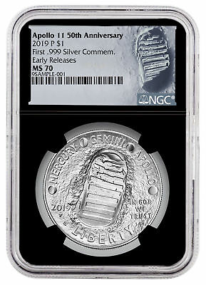 2019 P Apollo 11 50th Commem Silver Dollar NGC MS70 ER Black SKU57115
