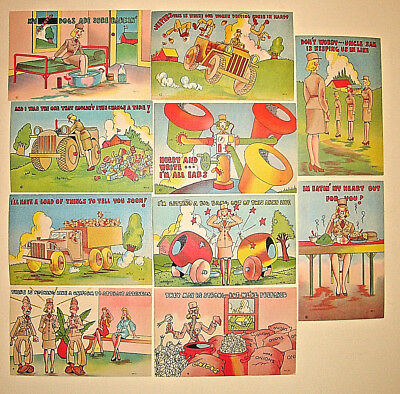 (10) Asst. World War II UNUSED COMEDY ARMY WAC WAAC LINEN POSTCARDS