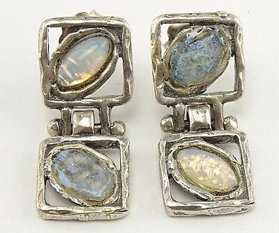 Sterling Silver Ancient Roman Frosted Opalescent Glass Hinged Dangle Earrings