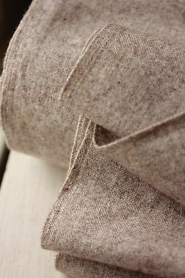 Antique French fabric SOFT wool + cotton brown clothing material c1900